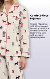 Comfy 2-Piece Pajamas - Relaxed fit pajamas with a long-sleeved, button-up top with a notched collar and loose-fitting pants with an elastic, drawstring waist image number 4
