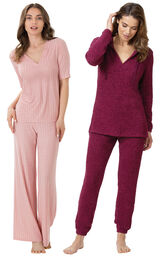 Deep Fuchsia Cozy Escape PJs and Pink Naturally Nude PJs image number 0