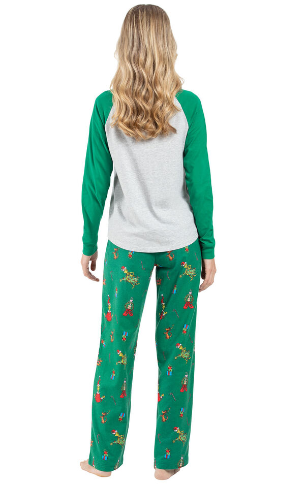Model wearing Green and Gray Grinch PJ for Women, facing away from the camera image number 1