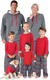 Models wearing Gray Classic Plaid Matching Family Pajamas image number 0