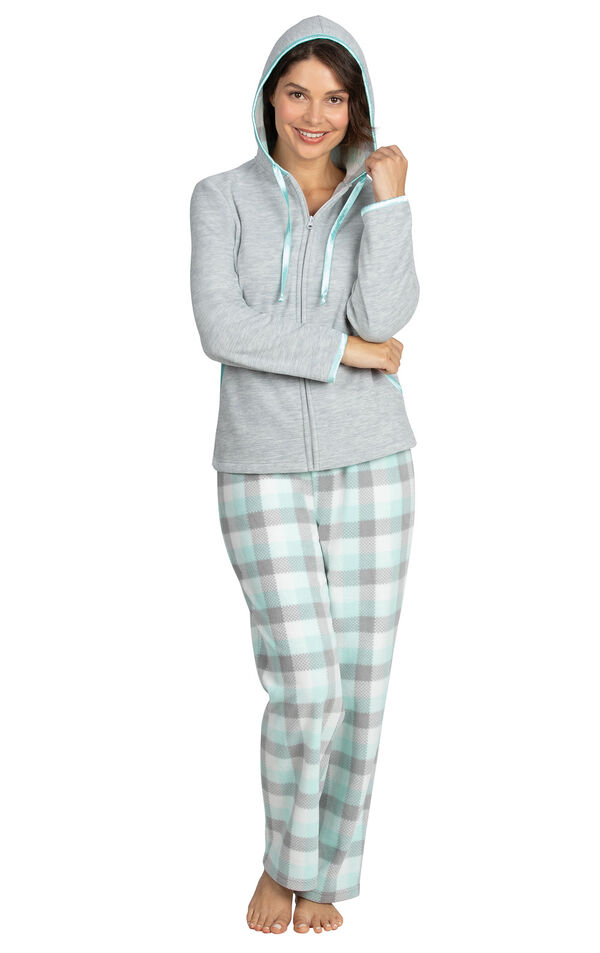 Model wearing Gray and Aqua Snuggle Fleece Hoodie Pajamas with the Hood up image number 2