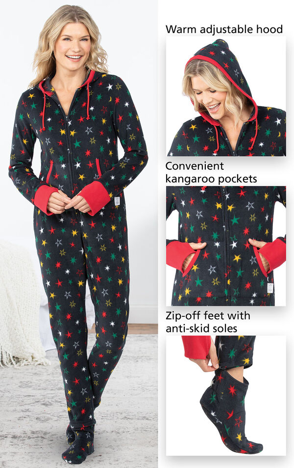 Black Fleece Hoodie-Footie with Multicolored stars features a warm adjustable hood, convenient kangaroo pockets and zip-off feet with anti-skid soles image number 3