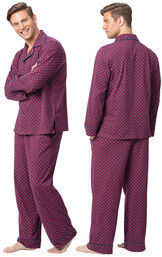 Model wearing Deep Red Print Button Front PJ for Men, facing away from the camera and then facing to the side image number 1