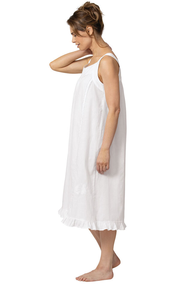Model wearing Nancy Nightgown in White for Women, facing to the side image number 2