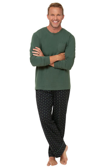 Jersey Long-Sleeve Men's Pajamas - Geometic Trees