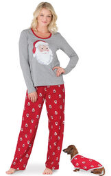 Models wearing Red and Gray Santa Print PJs for Pet and Owner image number 0