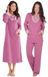 Models wearing World's Softest Nighty - Raspberry and World's Softest Pajamas - Raspberry.