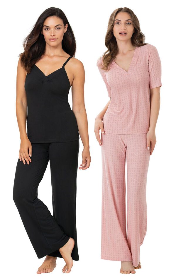 Black Naturally Nude Cami PJs and Pink Naturally Nude PJs image number 0