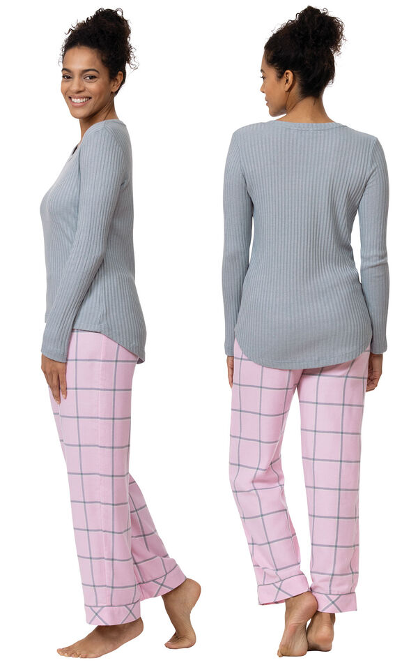 Model wearing Light Pink and Gray Plaid Thermal Top PJ for Women, facing away from the camera and then facing to the side image number 1