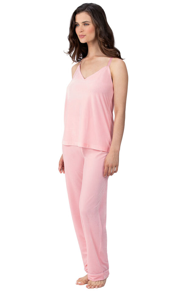 Model wearing Pink Velour Cami PJ with Satin Trim for Women image number 0