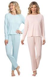 Models wearing Naturally Nude Knit Pajamas - Light Pink and Naturally Nude Knit Pajamas - Light Blue. image number 0