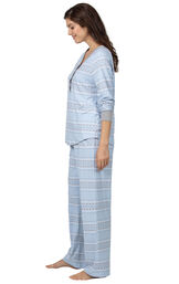 Model wearing Whisper Knit Henley Pajamas - Blue Fair Isle, facing to the side image number 2