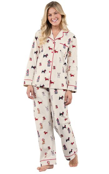Christmas Dogs Flannel Boyfriend Pajamas