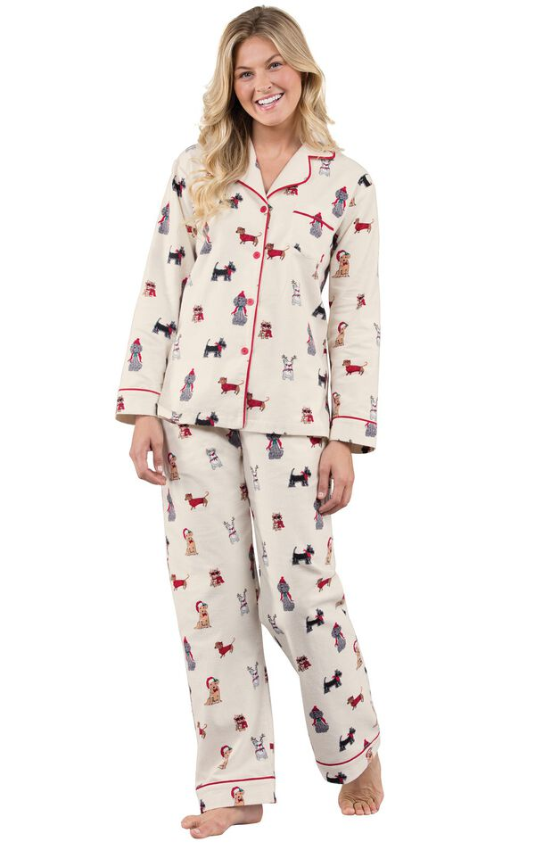 Model wearing Holiday Dog Print Button-Front PJ for Women image number 0