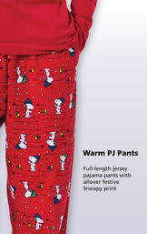 Close-up of Snoopy and Woodstock Red Warm PJ Pants with the following copy: Full-length jersey pajama pants with allover festive Snoopy print image number 3