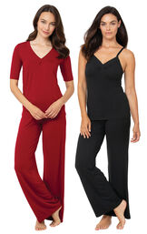Red Naturally Nude PJs and Black Naturally Nude Cami PJs image number 0
