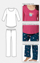 Let's Celebrate Pajamas feature a cozy scoop neck, elastic drawstring and comfy full-length pants image number 3