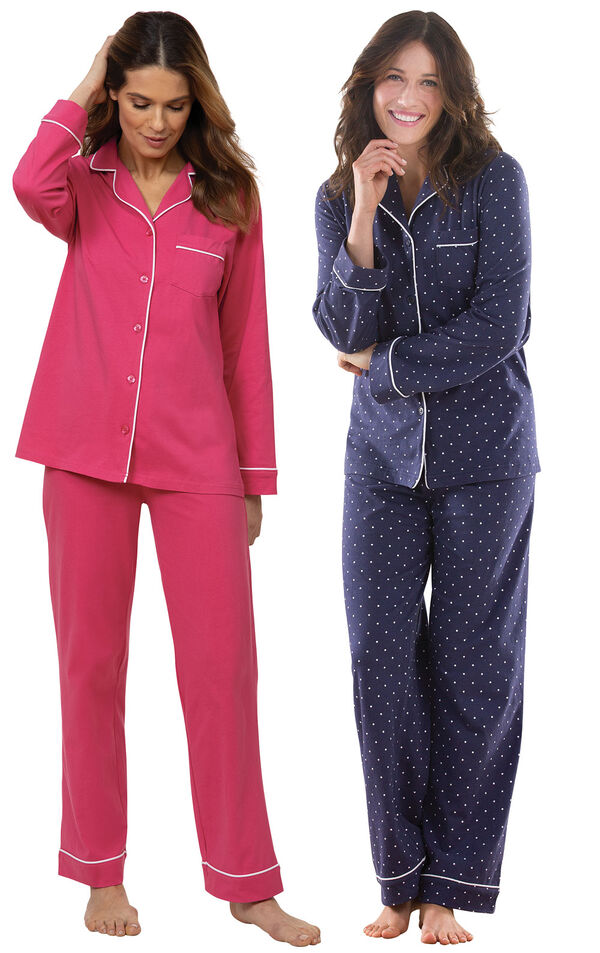Models wearing Solid Jersey Boyfriend Pajamas - Bold Pink and Classic Polka-Dot Women's Pajamas - Navy image number 0