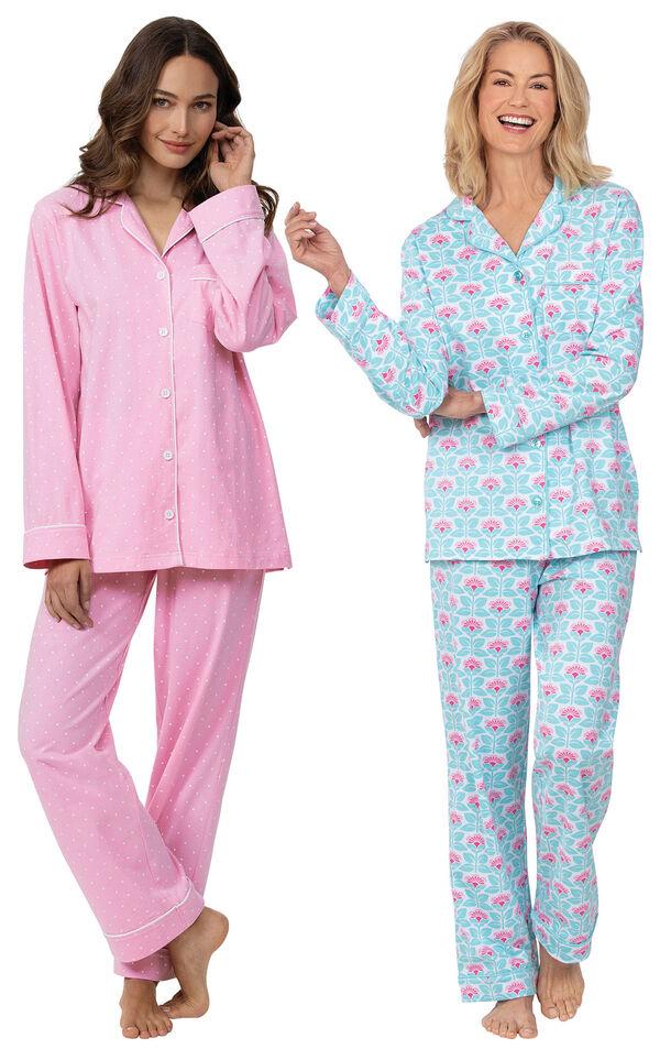 Models wearing Modern Floral Boyfriend Pajamas and Classic Polka-Dot Boyfriend Pajamas - Pink image number 0