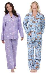 Models wearing Purrfect Flannel Boyfriend Pajamas and Dog Tired Boyfriend Flannel Pajamas. image number 0