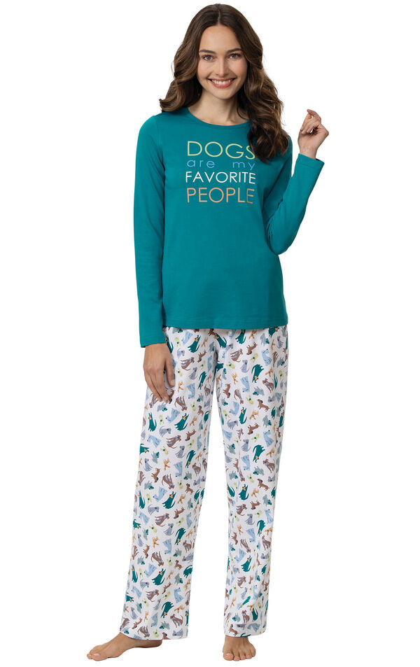 """Model wearing Teal and White Pajamas with """"Dogs are My favorite people"""" text on Top and Dog print on pants image number 0"""
