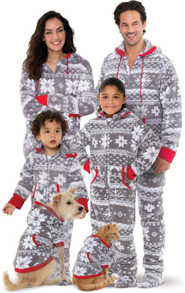 Models wearing Hoodie-Footie - Gray Fair Isle Fleece - Matching Family Pajamas image number 0