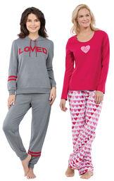 Models wearing ''Loved'' Hoodie Pajamas and Be Mine Pajamas. image number 0