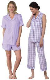 Models wearing Perfectly Plaid Sleeveless Capri Pajamas and Oh-So-Soft Pin Dot Short Set - Lavender. image number 0