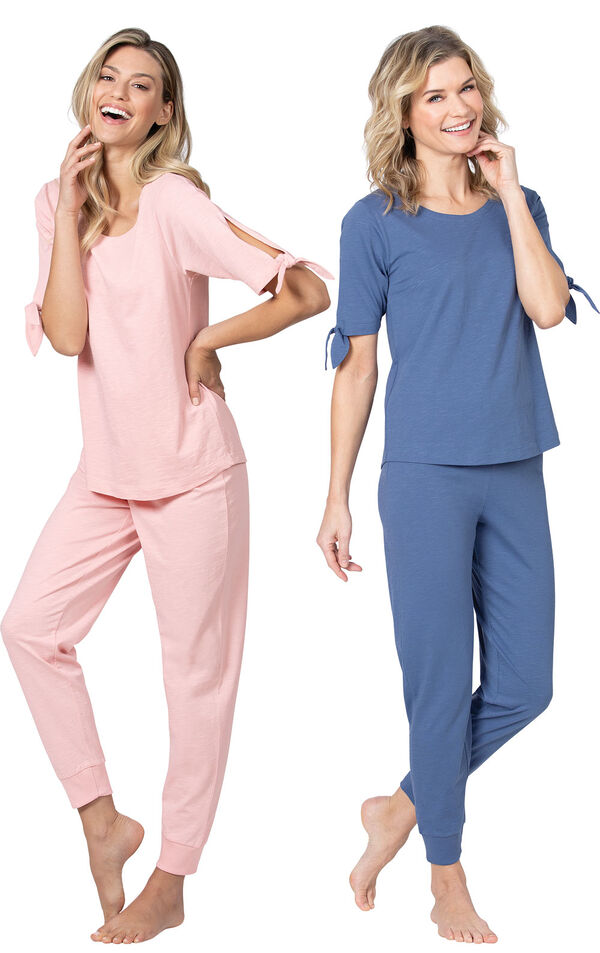 Models wearing Naturally Nude Jogger Pajamas - Blush and Naturally Nude Jogger Pajamas - Dusk. image number 0