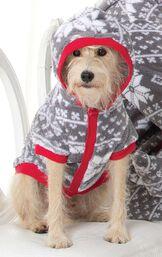 Dog wearing Gray Nordic Print Fleece Hoodie-Footie with the hood up image number 1