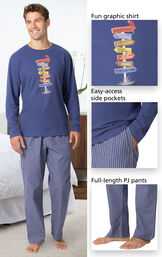 Margaritaville Easy Island Men's Pajamas - Navy has a fun graphic shirt, easy-access side pockets, and full-length PJ pants - all shown in image close-ups image number 3