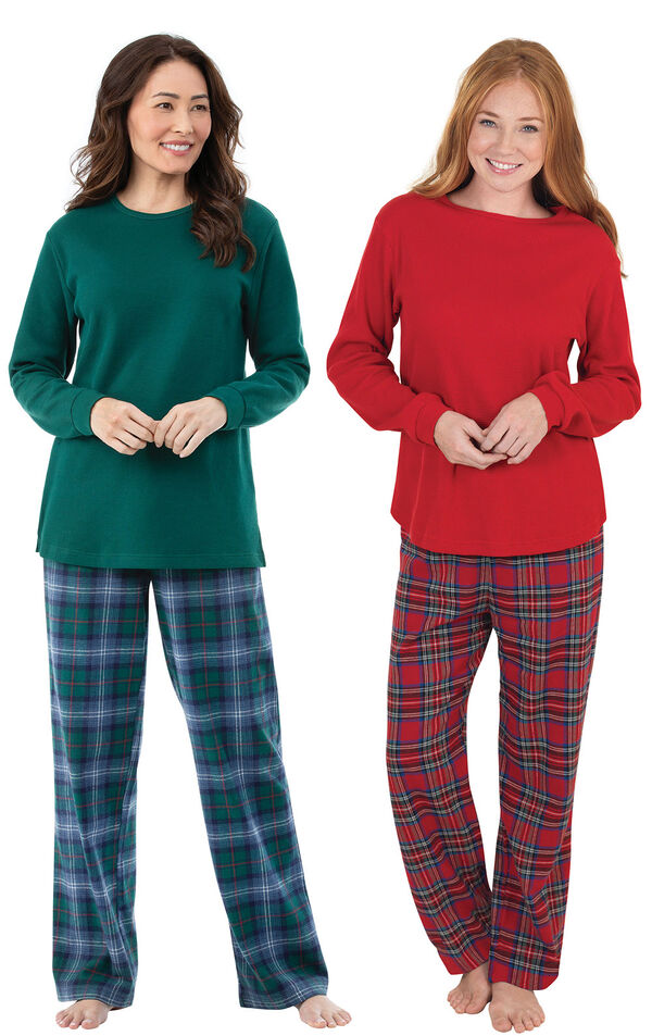 Models wearing Stewart Plaid Thermal-Top Pajamas and Heritage Plaid Thermal-Top Pajamas. image number 0