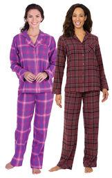 Burgundy and Raspberry Plaid Boyfriend PJs Gift Set image number 0