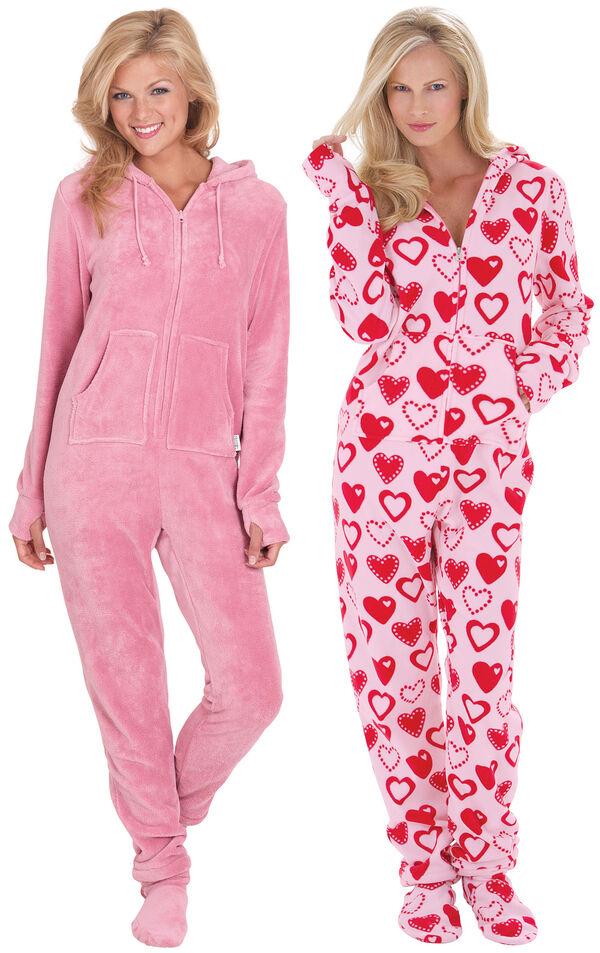 Models wearing Hoodie-Footie - Pink and Hoodie-Footie - Sweetheart Snuggle Fleece. image number 0