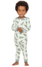 Model wearing Green Pine Tree PJ for Infants