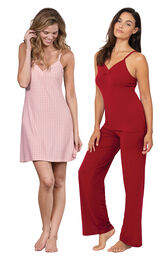 Red Naturally Nude Cami PJs and Pink Naturally Nude Chemise