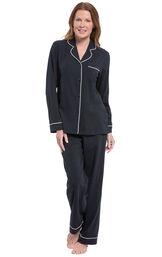 Solid Jersey Boyfriend Pajamas - Black image number 0