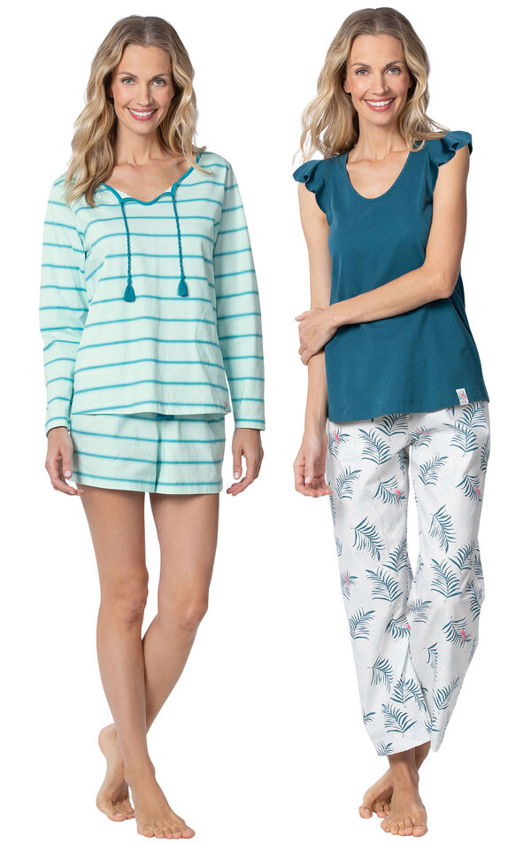 Models wearing Margaritaville Rest and Relaxation Short Set - Blue and Margaritaville Easy Island Capris Pajamas - Blue/White. image number 0