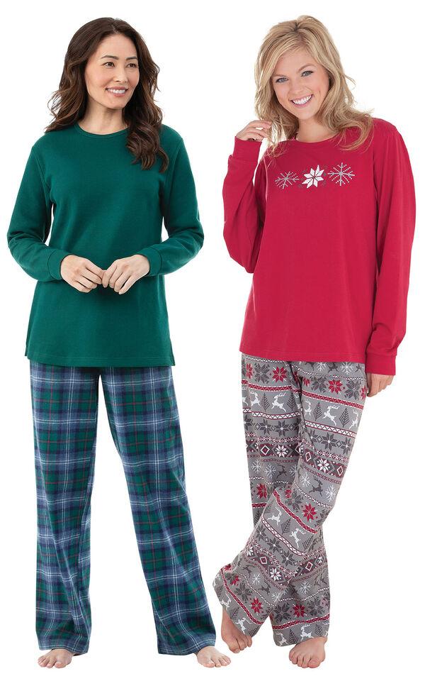 Models wearing Nordic Pajamas and Heritage Plaid Thermal-Top Pajamas. image number 0