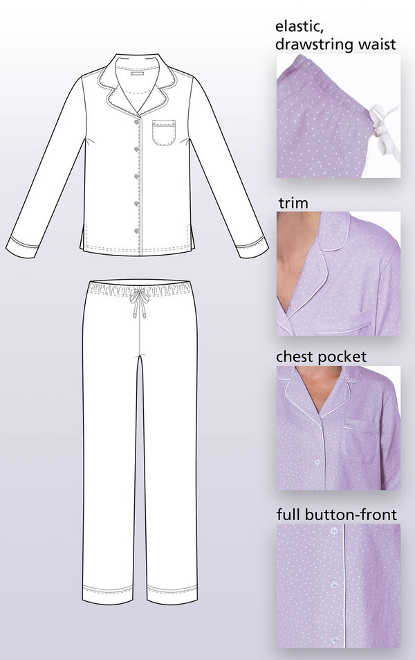 Close-ups of the features of Oh-So-Soft Pin Dot Boyfriend Pajamas such as elastic, drawstring waist, trim, chest pocket and full button-front. image number 4