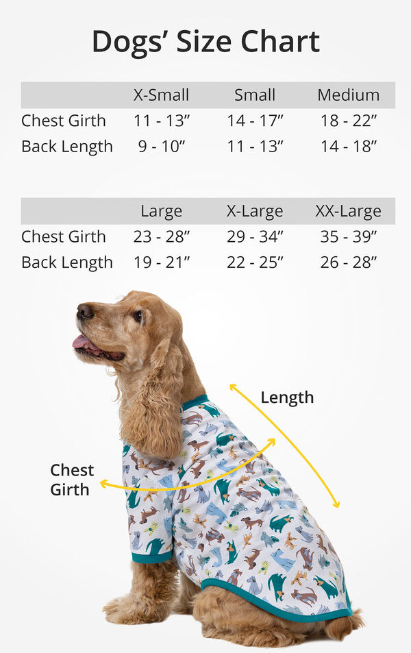 """Dogs' Size Chart: XS (Chest Girth: 11-13"""", Back Length 9-10""""), SM (Chest: 14-17"""", Back 11-13""""), MD (Chest: 18-22"""", Back 14-18""""), LG (Chest 23-28"""", Back 19-21""""), XL (Chest: 29-34"""", Back: 22-25""""), XXL (Chest: 35-39"""", Back 26-28"""") image number 2"""