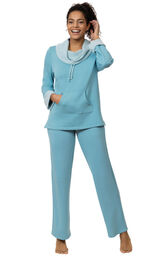 Model wearing World's Softest Teal Cowl-Neck Pajama Set for Women image number 0