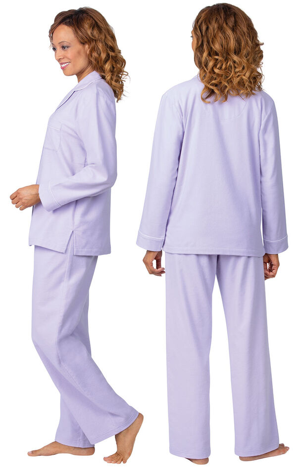 Model wearing Lavender Flannel Button-Front PJ for Women, facing away from the camera and then to the side image number 1