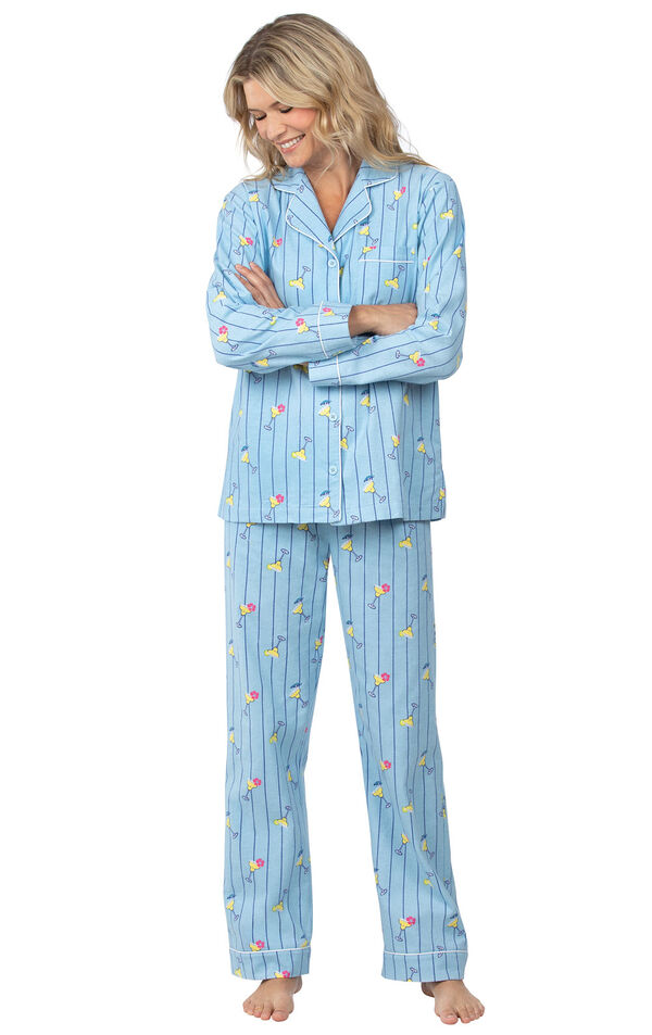 Model wearing Blue Stripe Margaritaville Button-Front PJ for Women image number 0