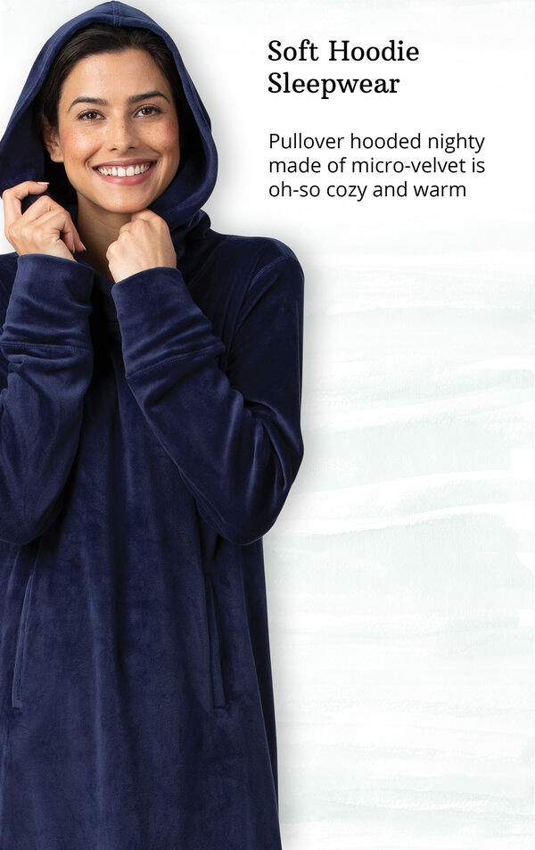 Addison Meadow Hooded Nightgown - Navy image number 2
