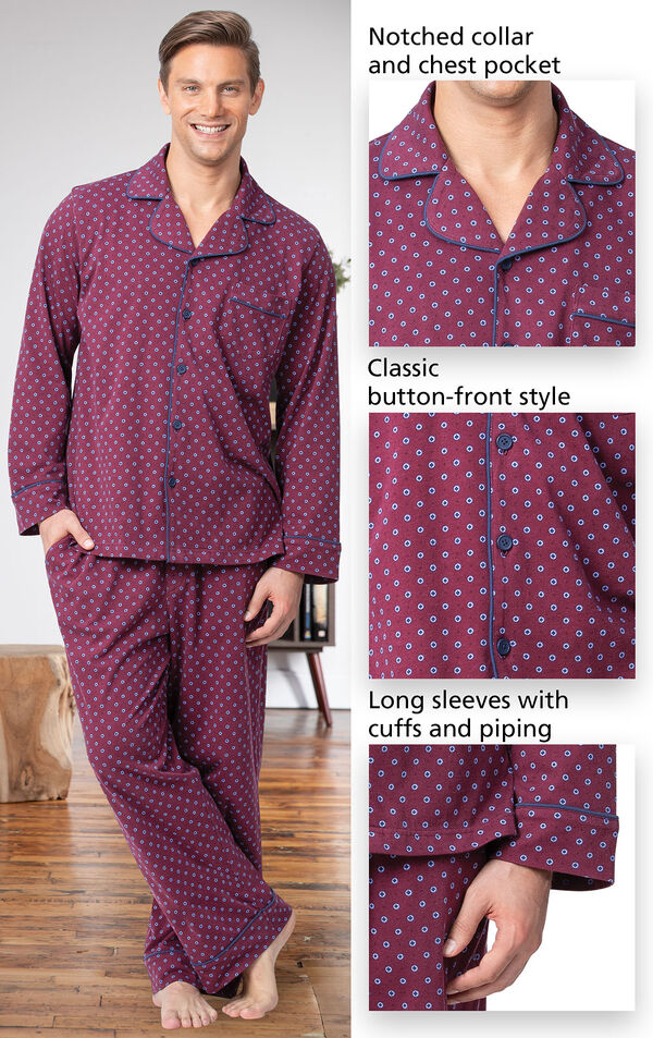 Men's Button-Front Pajamas feature a notched collar and chest pocket, classic button-front style and long sleeves with cuffs and piping image number 3