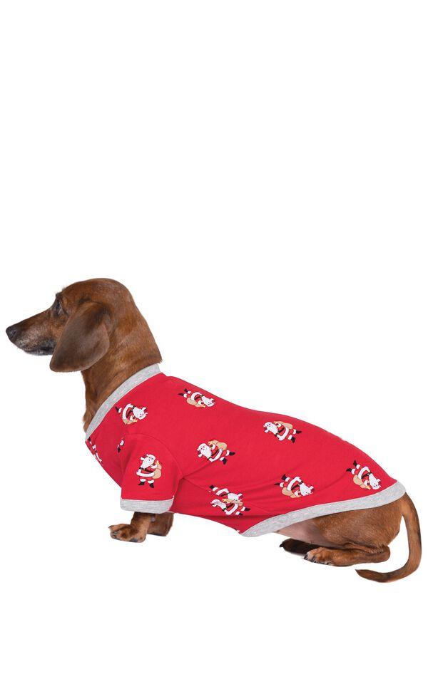 Model wearing Red and Gray Santa Print PJ - Pet image number 0