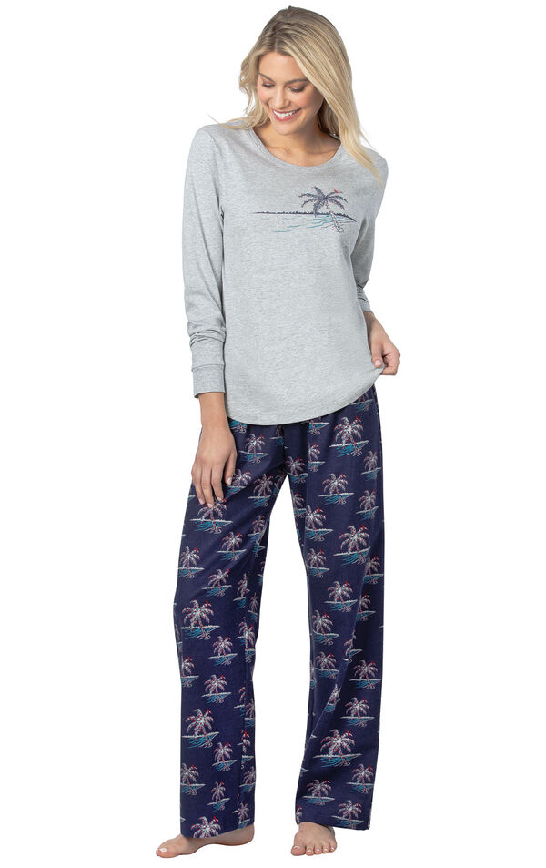 Model wearing Navy Blue Margaritaville PJ with Graphic Tee for Women image number 0