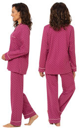 Model wearing Classic Polka-Dot Boyfriend Pajamas - Fuchsia, facing away from the camera and then facing to the side image number 1