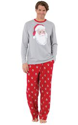 Model wearing Red and Gray Santa Print PJ for Men image number 0